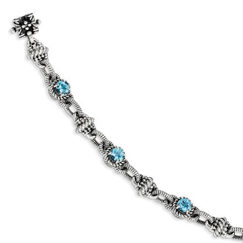 Lex & Lu Sterling Silver Swiss Blue Topaz Bracelet-Lex & Lu
