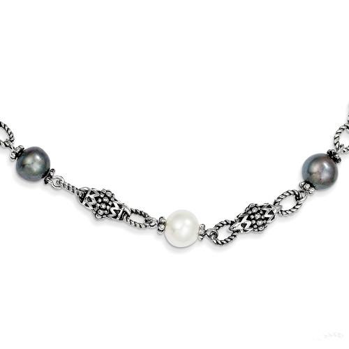 Lex & Lu Sterling Silver FW Cultured Black & White Pearl Necklace-Lex & Lu