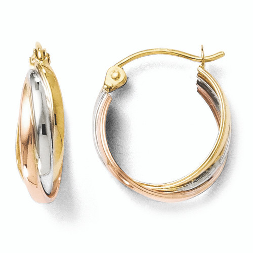 Lex & Lu Leslie's 14K Tri-color Gold Polished Hinged Hoop Earrings-Lex & Lu