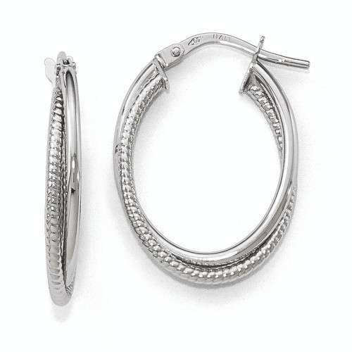 Lex & Lu Leslie's 14k White Gold Polished Textured Oval Hoop Earrings LAL46141-Lex & Lu