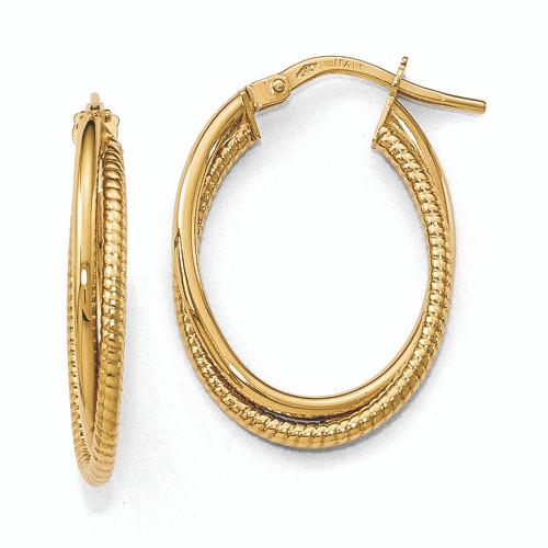 Lex & Lu Leslie's 14k Gold Polished Textured Oval Hoop Earrings-Lex & Lu
