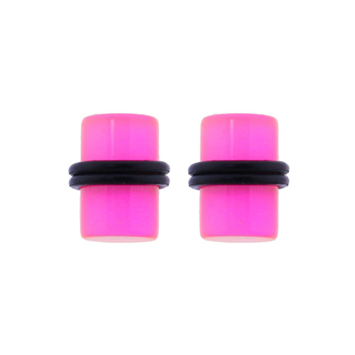 Lex & Lu Pair of Acrylic Glow in the Dark Ear Plugs w/Black O-Rings 10G-0 Gauge-Lex & Lu