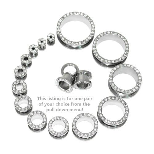 "Lex & Lu Pair of Steel Threaded Tunnel Plugs w/Clear Gems 10G Thru 1 1/8""-2-Lex & Lu"
