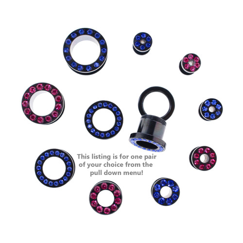 "Lex & Lu Pair of Steel Black Threaded Tunnel Plugs w/Gems - 10G Thru 1/2""-2-Lex & Lu"