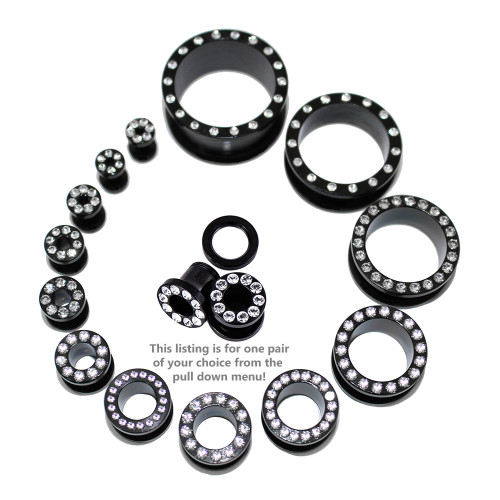 "Lex & Lu Pair of Steel Black Threaded Tunnel Plugs w/Clear Gems-10G to 1""-2-Lex & Lu"