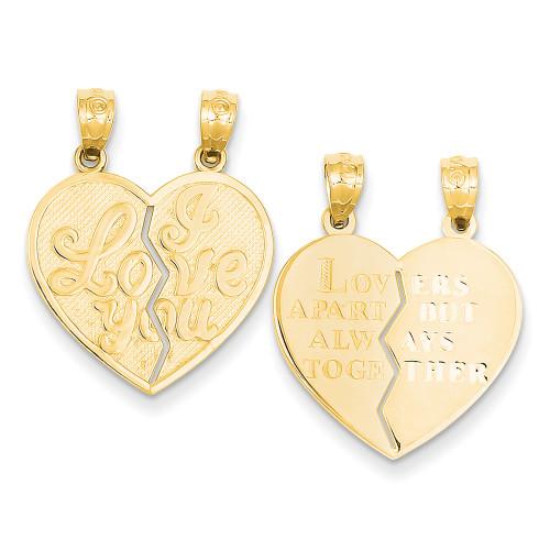 Lex & Lu 14k Yellow Gold I Love You Heart Break-a-Part Reversible Pendant-Lex & Lu