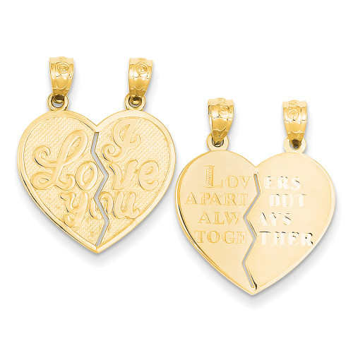 Lex & Lu 14k Yellow Gold I Love You Heart Break-a-Part Reversible Pendant-Lex & Lu