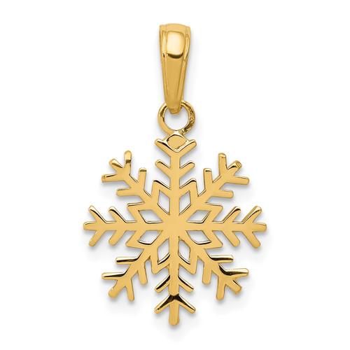 Lex & Lu 14k Yellow Gold 3-D Snowflake Pendant LAL73975 - Lex & Lu
