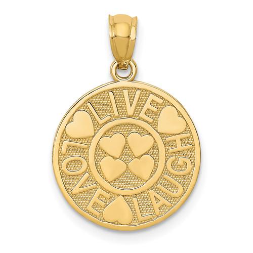 Lex & Lu 14k Yellow Gold Live Love Laugh Circle Pendant - Lex & Lu