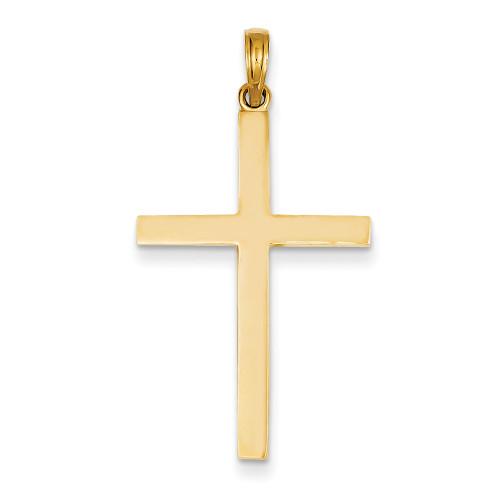 Lex & Lu 14k Yellow Gold Stick Cross Pendant-Lex & Lu