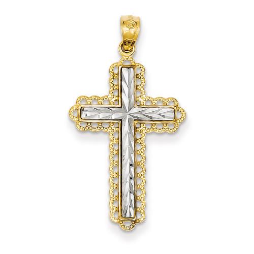 Lex & Lu 14k Yellow Gold & Rhodium Plated D/C Cross Pendant-Lex & Lu