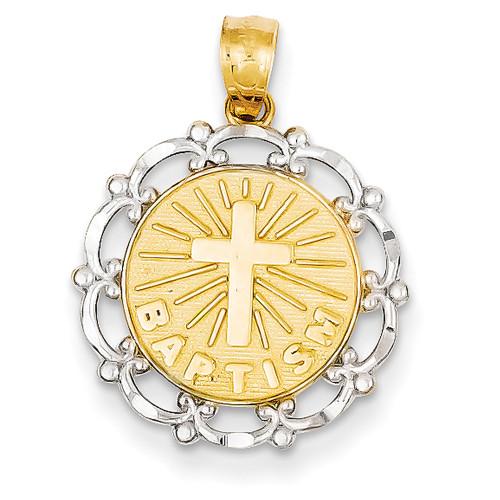 Lex & Lu 14k Yellow Gold & Rhodium Plated Baptism Pendant LAL74572-Lex & Lu