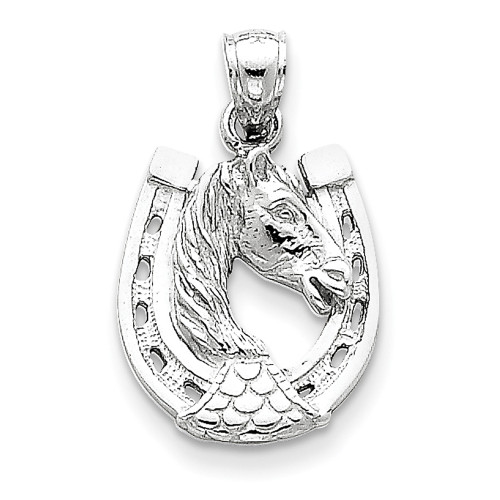 Lex & Lu 14k Yellow Gold Horse Head in Horseshoe Pendant-Lex & Lu