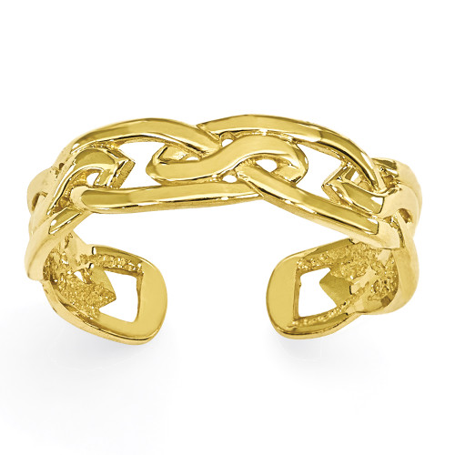 Lex & Lu 14k Yellow Gold Weave Toe Ring-Lex & Lu