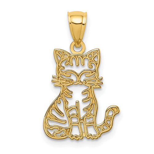 Lex & Lu 14k Yellow Gold Sitting Cat Pendant-Lex & Lu