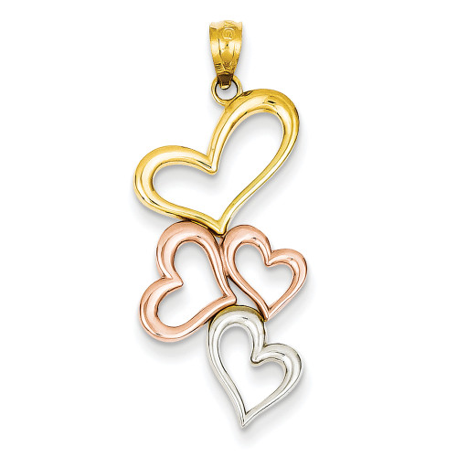 Lex & Lu 14k Yellow Gold & Rhodium Plated Hearts Pendant-Lex & Lu