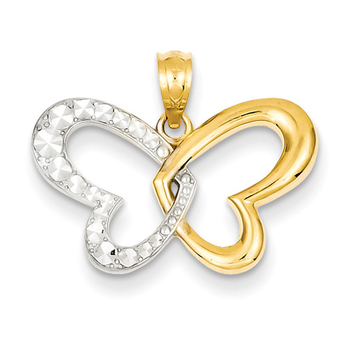 Lex & Lu 14k Yellow Gold & Rhodium Plated D/C Butterfly Pendant LAL75616-Lex & Lu