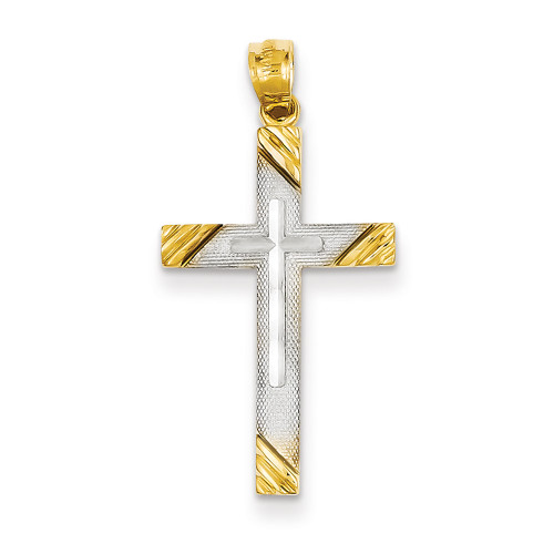 Lex & Lu 14k Yellow Gold & Rhodium Plated Cross Pendant-Lex & Lu