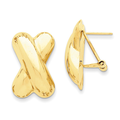 Lex & Lu 14k Yellow Gold Polished X Omega Back Post Earrings LAL75994-Lex & Lu