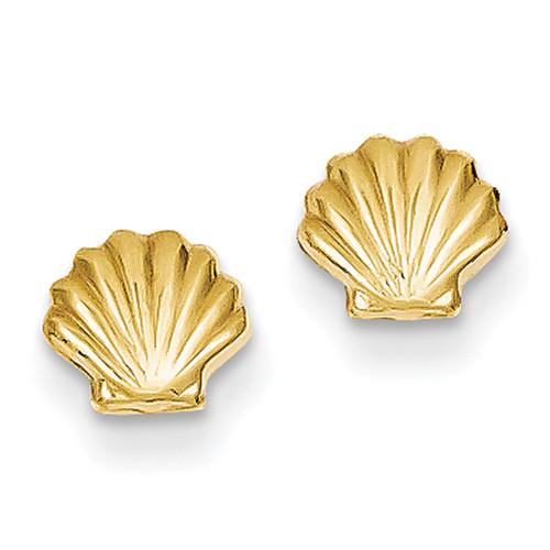 Lex & Lu 14k Yellow Gold Polished Shell Post Earrings-Lex & Lu
