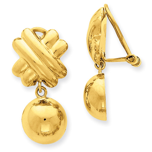 Lex & Lu 14k Yellow Gold Non-pierced Fancy Ball Earrings-Lex & Lu