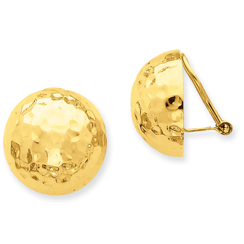 Lex & Lu 14k Yellow Gold Omega Clip 18mm Hammered Non-pierced Earrings-Lex & Lu
