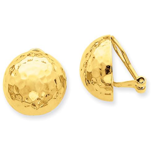 Lex & Lu 14k Yellow Gold Omega Clip 16mm Hammered Non-pierced Earrings-Lex & Lu