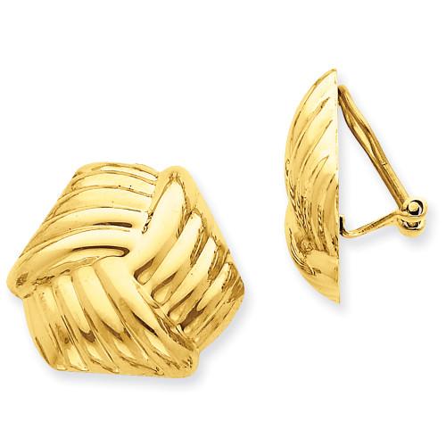 Lex & Lu 14k Yellow Gold Omega Clip Non-pierced Earrings LAL76875-Lex & Lu