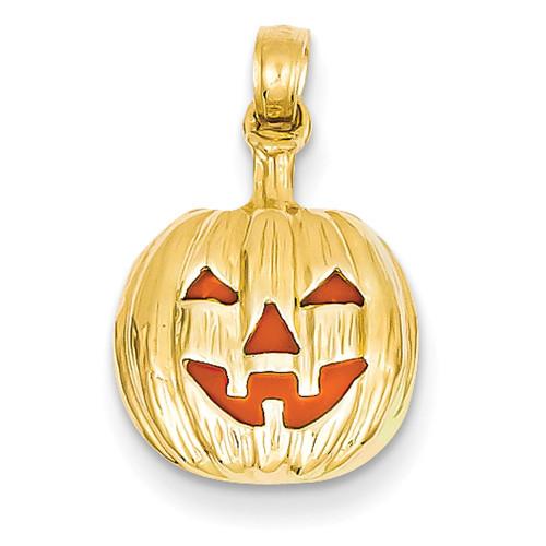 Lex & Lu 14k Yellow Gold Enameled Inside 3-D Cut-out Pumpkin Pendant-Lex & Lu