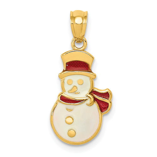 Lex & Lu 14k Yellow Gold Enameled Snowman Pendant - Lex & Lu