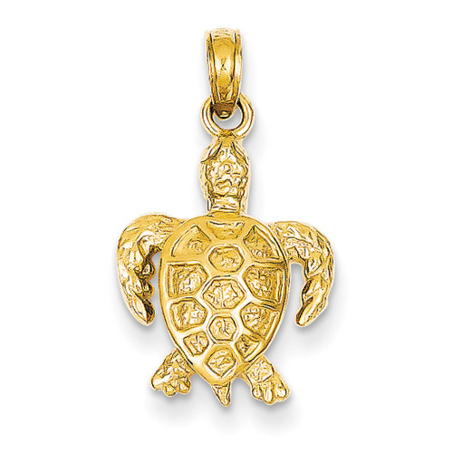 Lex & Lu 14k Yellow Gold Sea Turtle Pendant LAL77527-Lex & Lu