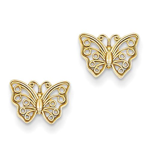Lex & Lu 14k Yellow Gold Butterfly Post Earrings-Lex & Lu