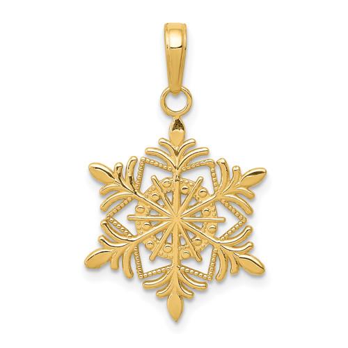 Lex & Lu 14k Yellow Gold Snowflake Pendant LAL78012 - Lex & Lu