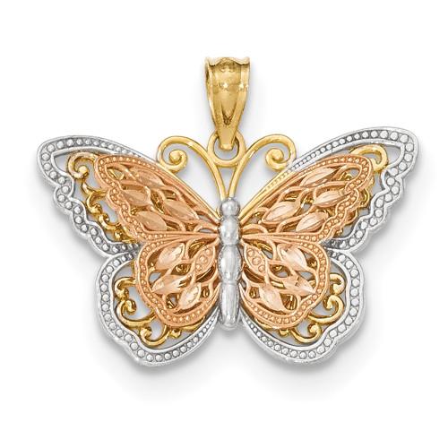 Lex & Lu 14k Tri-color Gold Y/R Polished Cut-out 2-level Butterfly Pendant-Lex & Lu