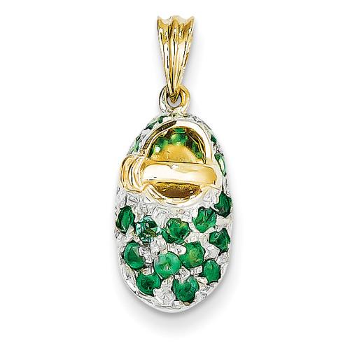 Lex & Lu 14k Yellow Gold & Rhodium Prong-Set May/Emerald Baby Shoe Charm-Lex & Lu