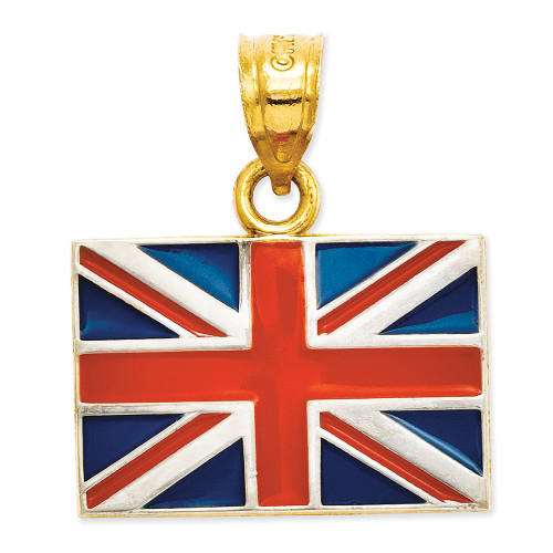 Lex & Lu 14k Yellow Gold Solid Enameled United Kingdom Flag Pendant-Lex & Lu