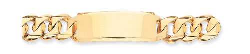 Lex & Lu 14k Yellow Gold Hand-polished Traditional Heavy Link ID Bracelet-Lex & Lu