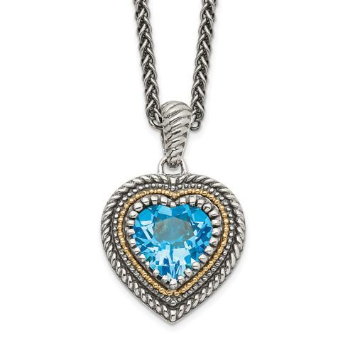 Lex & Lu 14k Yellow Gold w/Sterling Silver Lt Swiss Blue Topaz Heart Necklace - Lex & Lu