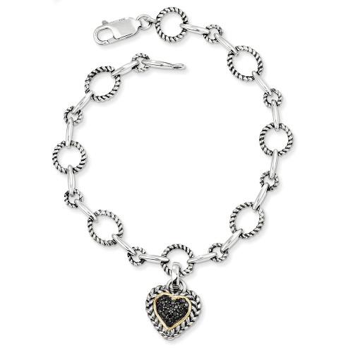 Lex & Lu 14k Yellow Gold w/Sterling Silver Black Diamond Heart Link Bracelet-Lex & Lu