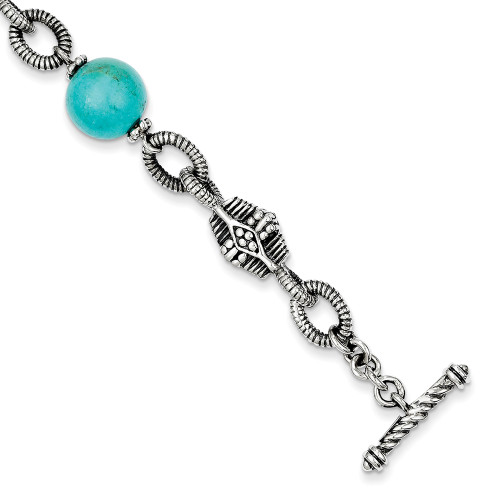 Lex & Lu 14k Yellow Gold w/Sterling Silver Reconstructed Turquoise Bracelet LAL79955-Lex & Lu