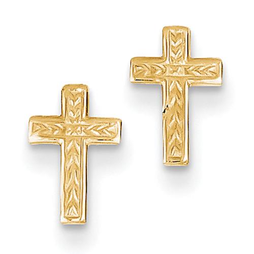Lex & Lu 10k Rose Gold Polished Cross Post Earrings-Lex & Lu