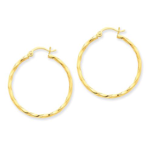 Lex & Lu 14k Yellow Gold Twist Polished Hoop Earrings LAL81839-Lex & Lu
