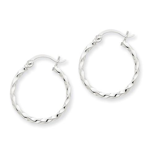 Lex & Lu 14k White Gold Twist Polished Hoop Earrings LAL81940-Lex & Lu