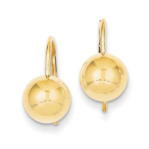 Lex & Lu 14k Yellow Gold 8.00mm Hollow Half Ball Earrings-Lex & Lu