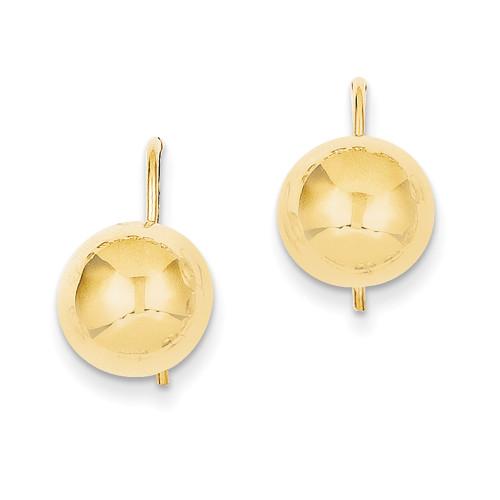 Lex & Lu 14k Yellow Gold 10.50mm Hollow Half Ball Earrings-Lex & Lu