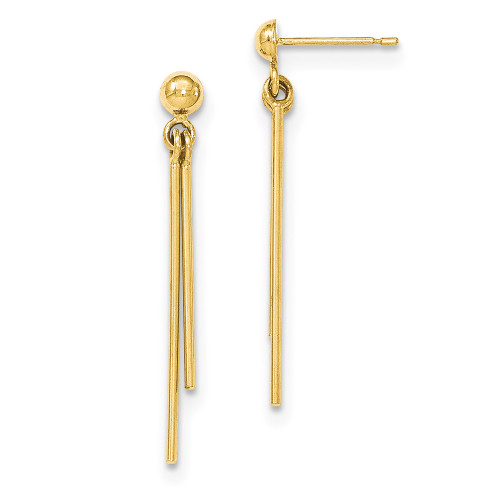 Lex & Lu 14k Yellow Gold Polished Post Dangle Earrings LAL82780-Lex & Lu