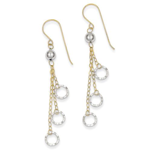 Lex & Lu 14k Two-tone Gold Circle Dangle Earrings LAL82829-Lex & Lu