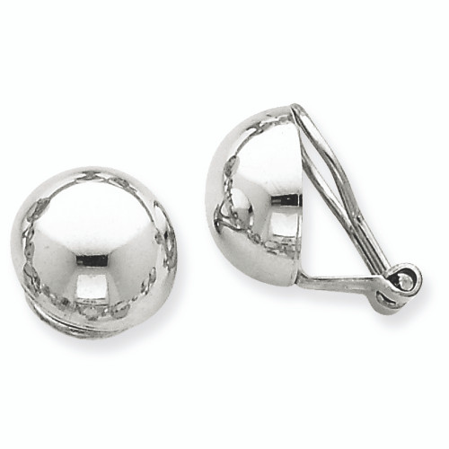 Lex & Lu 14k White Gold Polished Non-pierced Back Earrings-Lex & Lu
