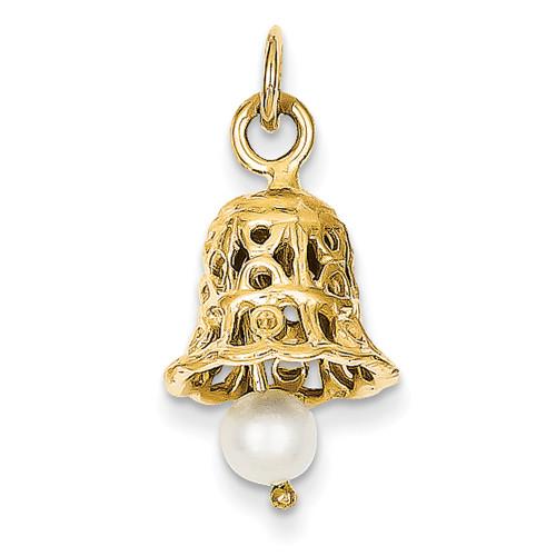 Lex & Lu 14k Yellow Gold Wedding Bell w/FW Cultured Pearl Charm-Lex & Lu