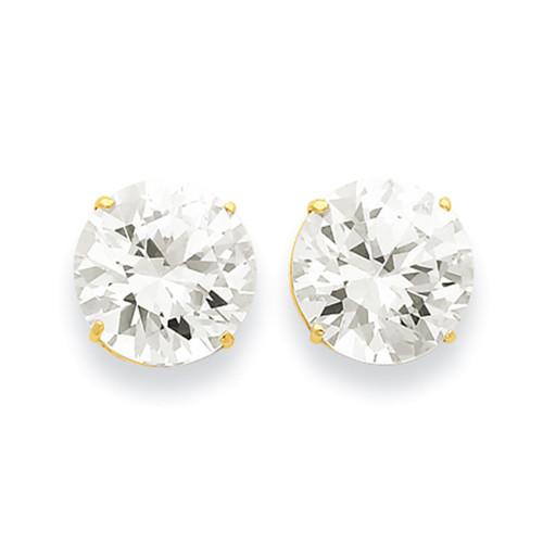 Lex & Lu 14k Yellow Gold 12mm Round CZ Post Earrings-Lex & Lu